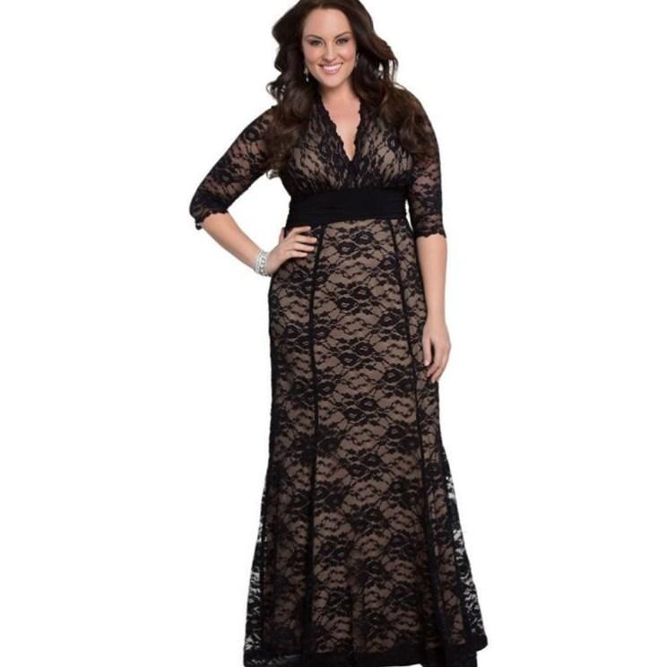 Lace maxi dress plus size