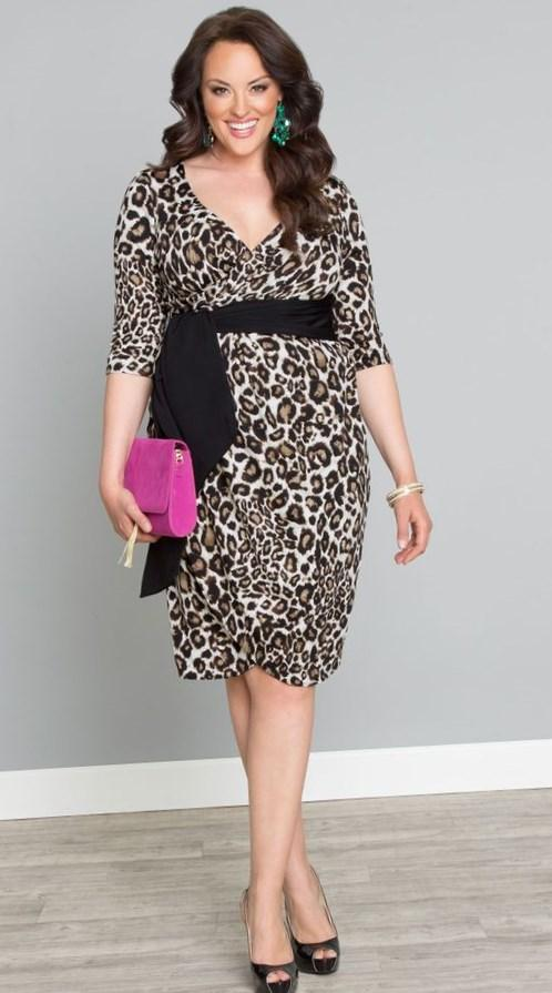 Sexy Leopard Long Sleeve Chest Cutout Party Dress Plus Size Dress