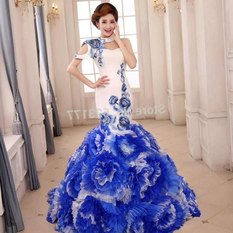 Blue and white plus size dress collection for Blue wedding dresses plus size