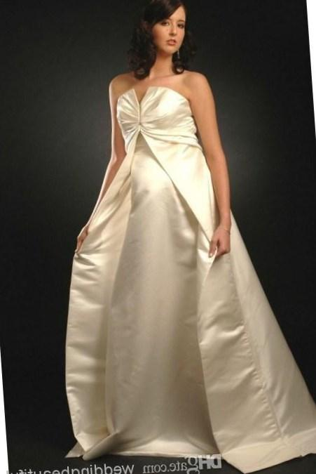 Empire Waist Simple Style Plus Size Champagne Strapless Maternity Wedding Dresses A-Line Stretch Satin Pregnant Women Special Occasion Dress