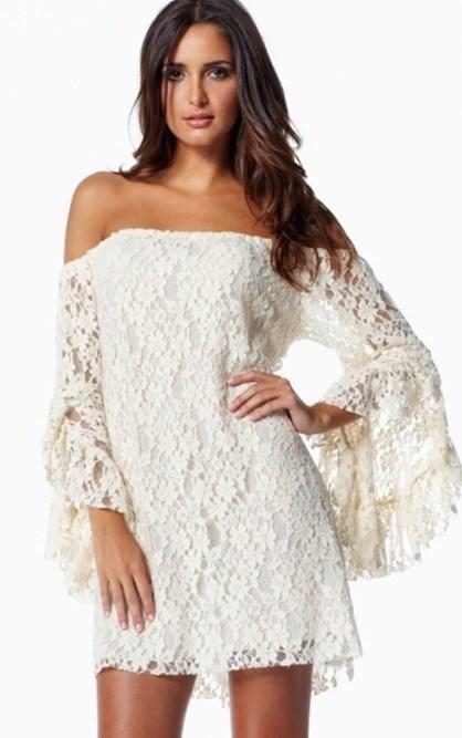 Plus lace white dress hippie