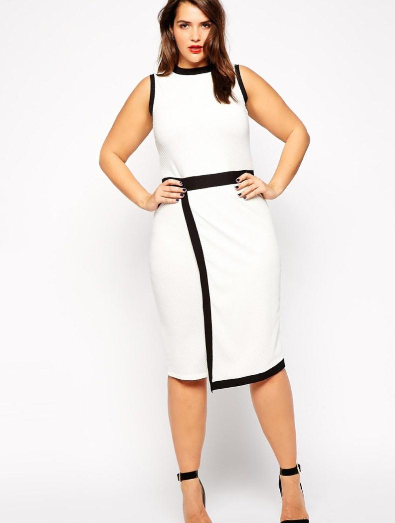 Fashion design plus size casual dress curve party dress women with black and white contrast color