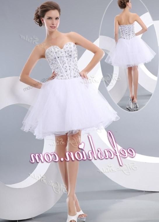Cheap Homecoming Party Gold Applique Sparkly for Teens Plus Size Masquerade Puffy Short Prom Dresses White