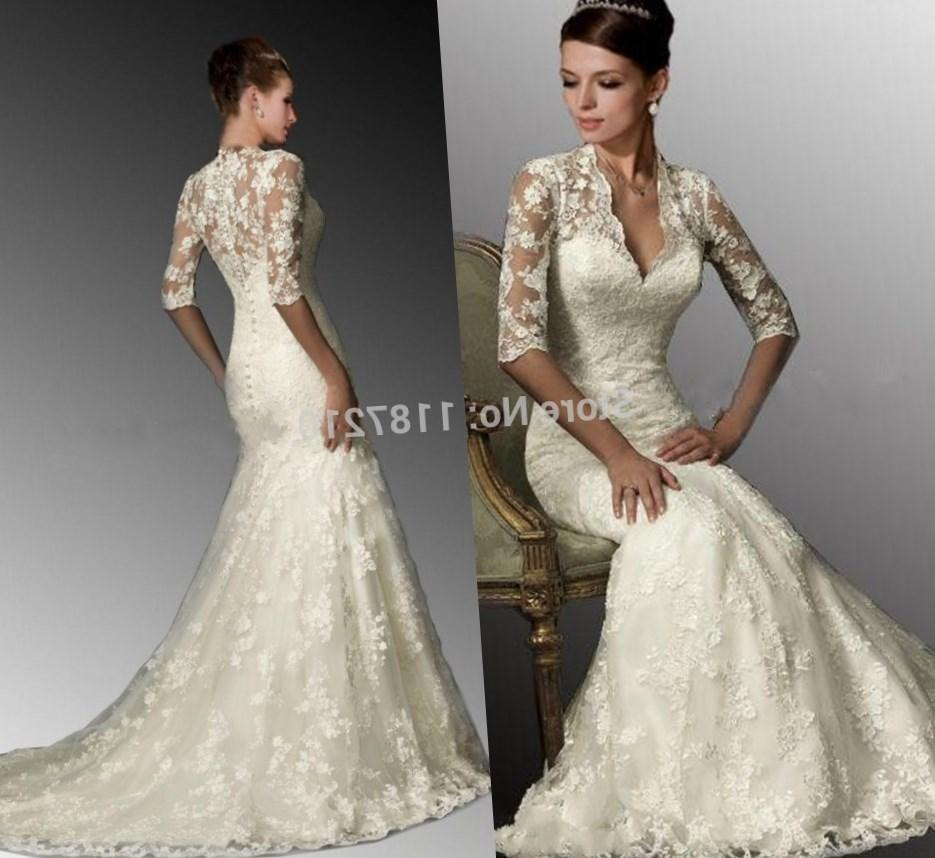 2017 Nigeria Bridal Gowns Fashional Winter Women Plus Size Wedding Gowns See Though Neck Illusion Back