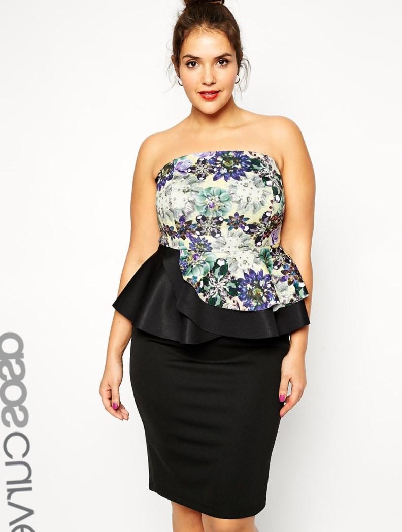 Front peplum dress black sexy plus size dresses