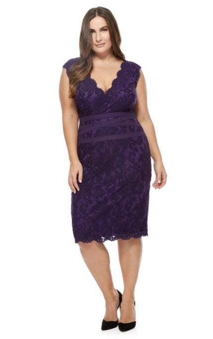 Marina Plus Size Dress, 3/4 Sleeve Beaded Lace Cocktail Dress - Plus Size