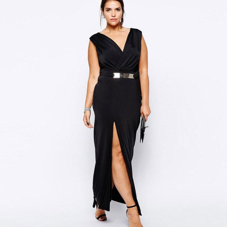 Women Sexy Plus Size Dresses 2017 Brand Sexy Long Dress High Slit Maxi Dresses with Metal