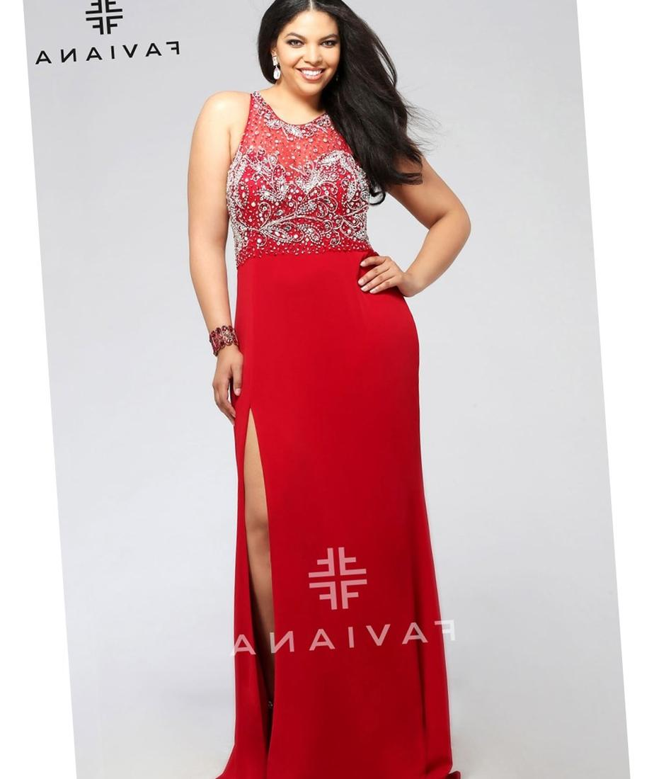 New Plus Size Long Dress with Front Faux Wrap in Red available at http:/