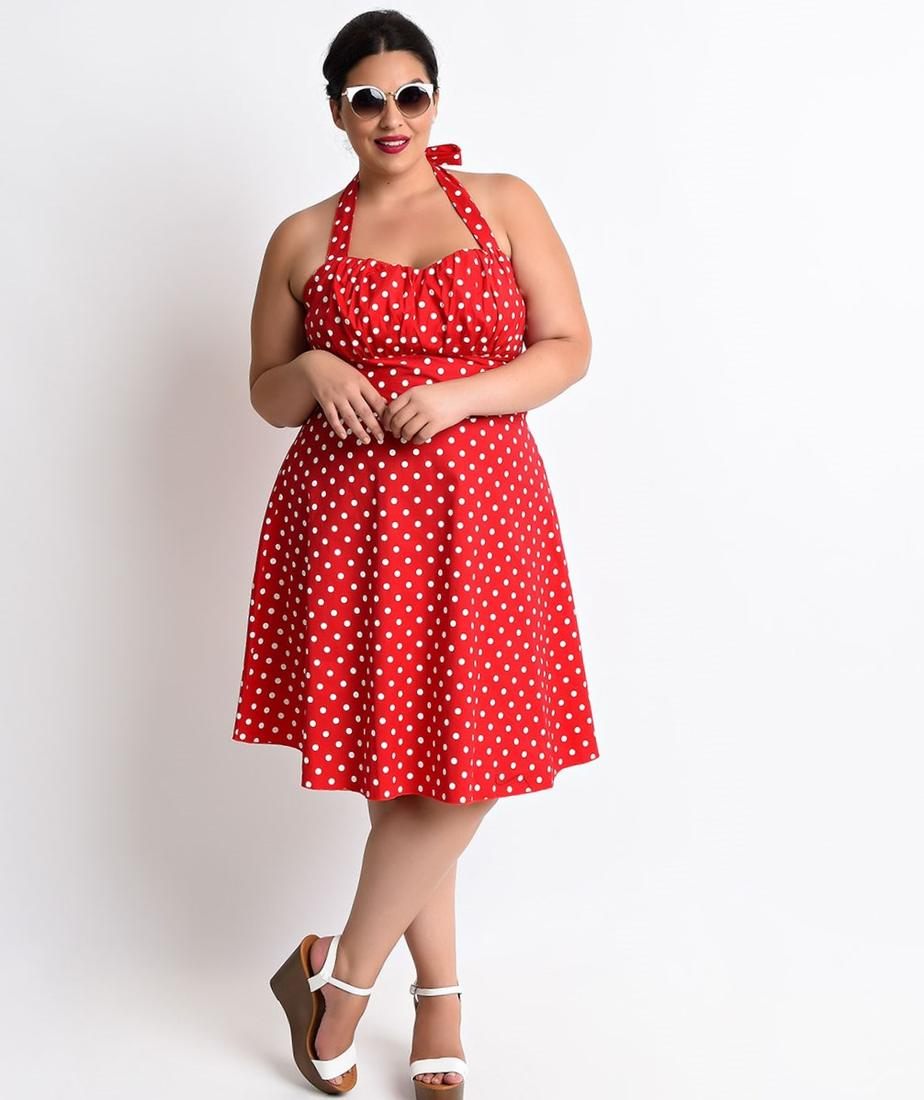 Red polka dot dress plus size - PlusLook.eu Collection