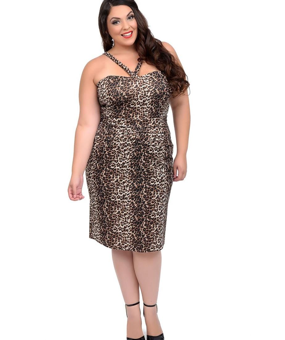 Plus Size Leopard Print Dora Fitted Wiggle Dress