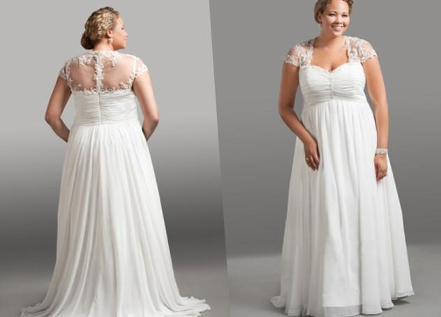 Empire Waist Chiffon Plus Size Wedding Dresses 37
