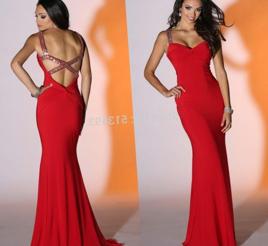 Sexy Red Plus Size Prom Dress 2018 High Quality See Through Back Beaded Lace Mermaid Prom
