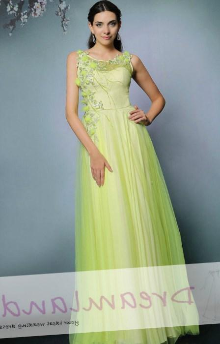 one shoulder long chiffon lime green plus size evening dresses Style 6502W