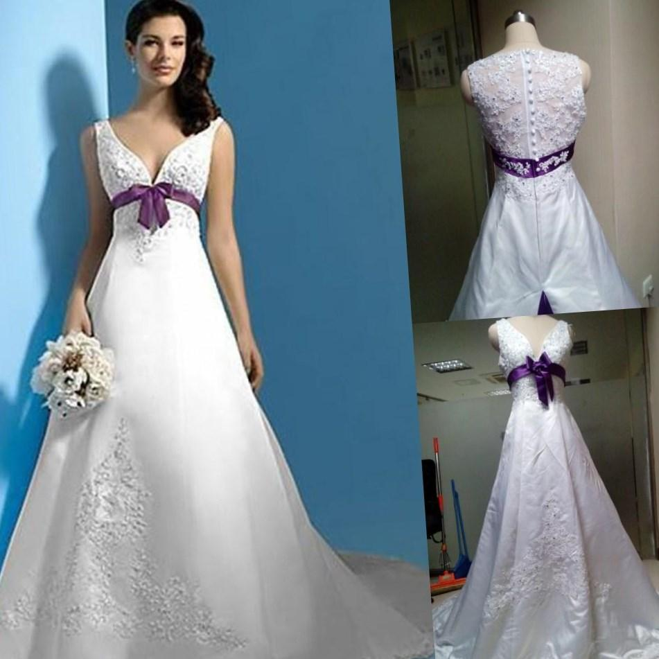 Plus size purple wedding dresses collection for Wedding dresses with purple trim