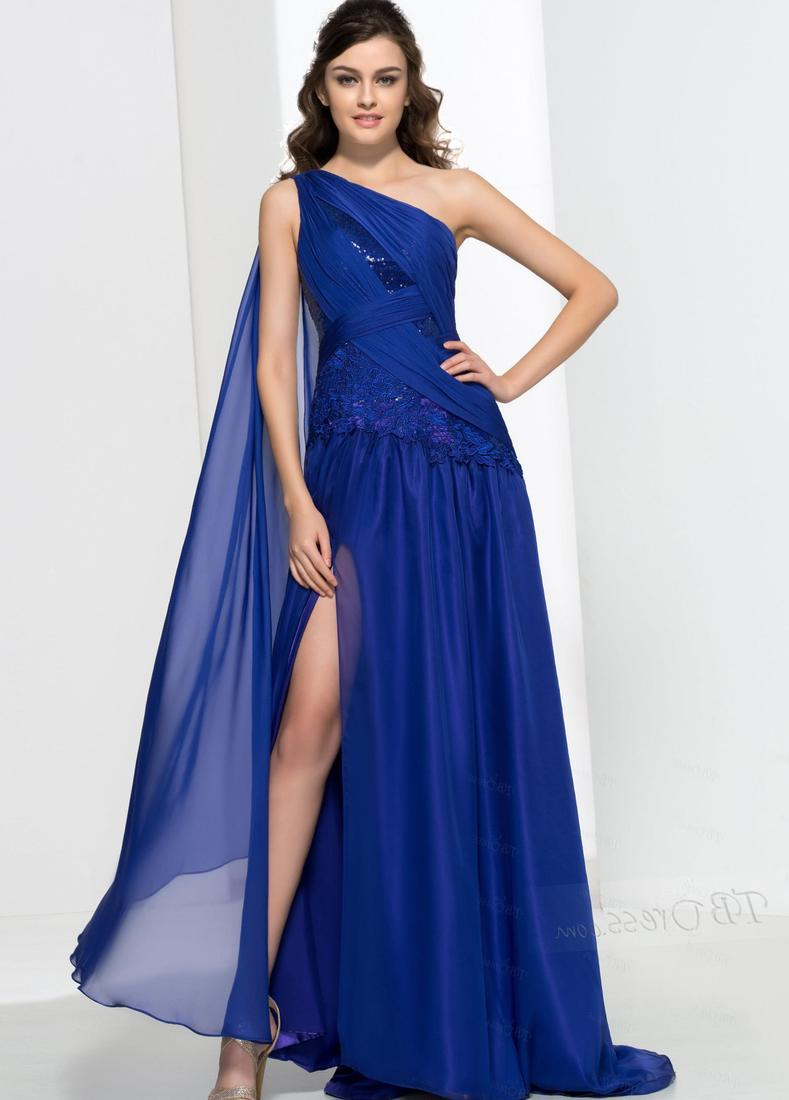 USD $ 132.47: One-Shoulder Sequins Side-Split Prom Dress