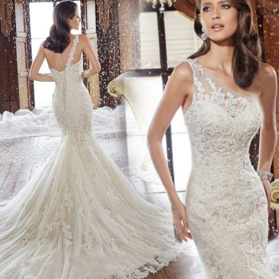 Robe de Mariee 2017 New One Shoulder Straps Lace Wedding Dress Mermaid Sexy Plus Size Vintage