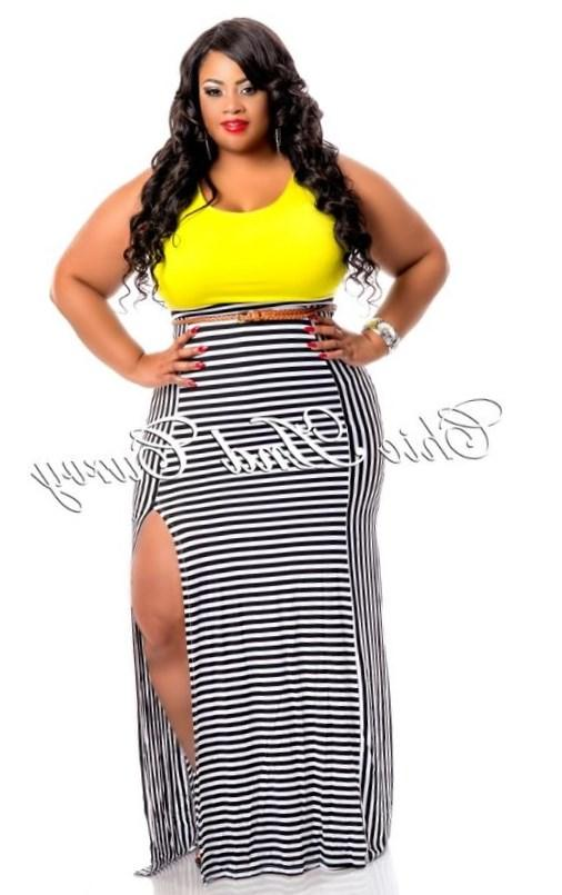 New Arrival New Plus Size Maxi Dress in Black, Lime Green and Yellow Stripe Bottom