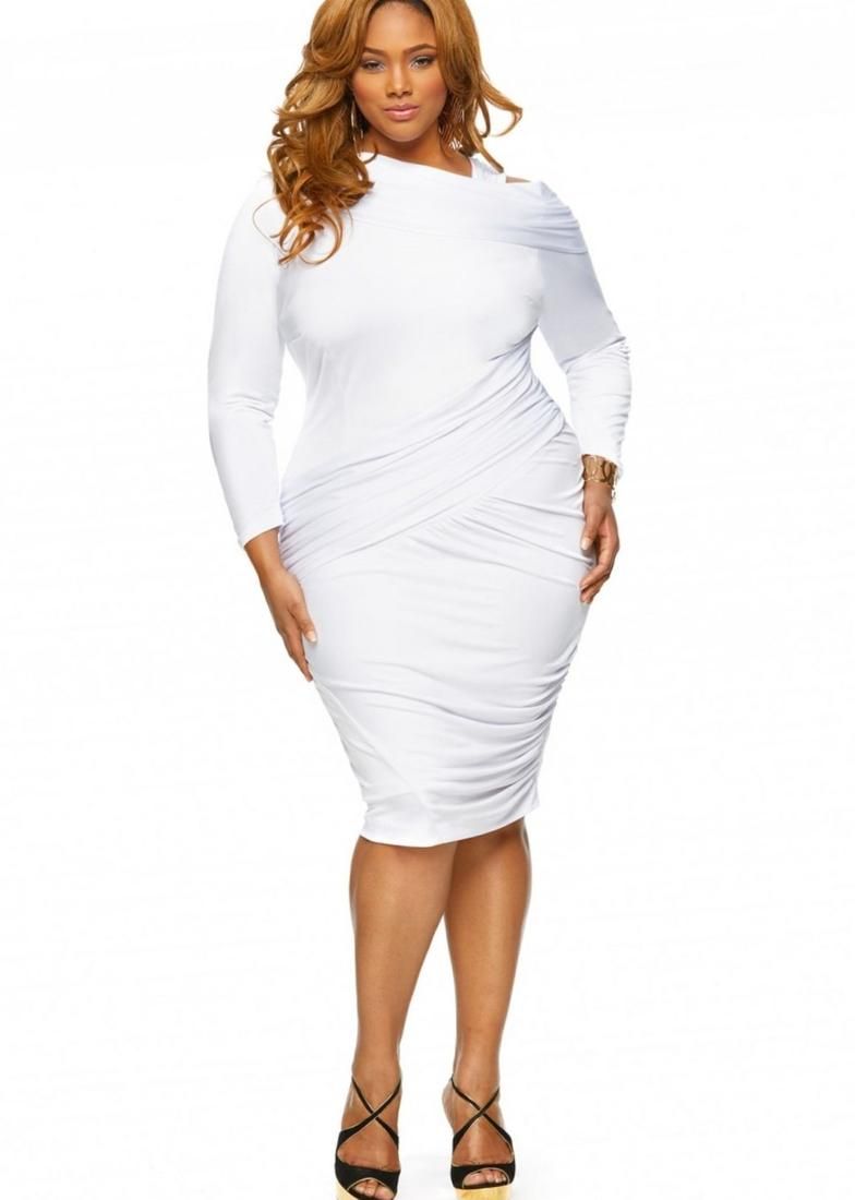 White long formal dresses for plus size women