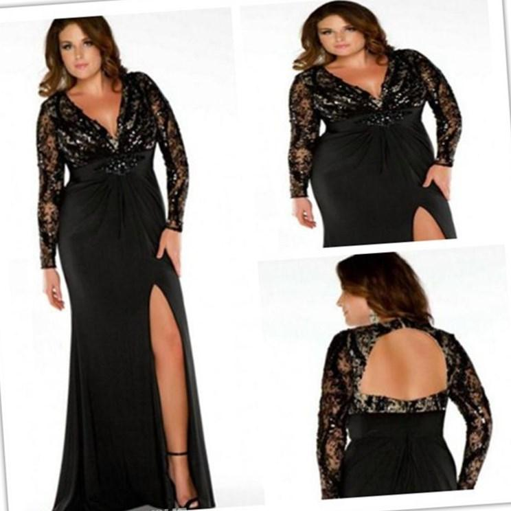 2018 Plus Size Prom Dresses Lady Evening Gown Formal With Mermaid V Neck Long Sleeve Backless