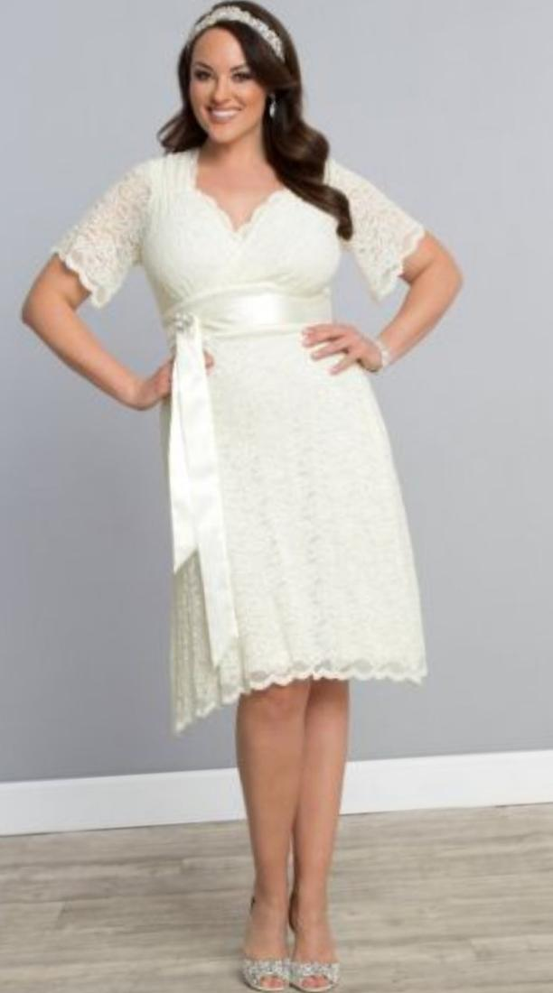 Plus size short white dresses cocktail party short for Plus size wedding dresses with color and sleeves