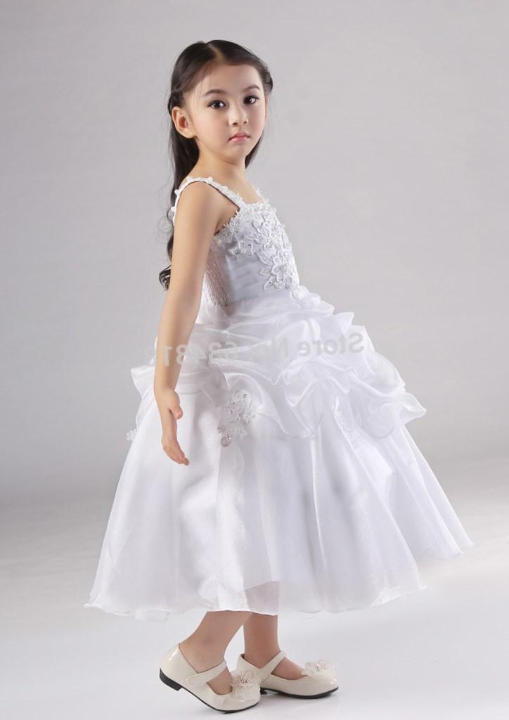 Hot sale White first communion dress 2017 new Flower girl dresses for wedding party kids dress