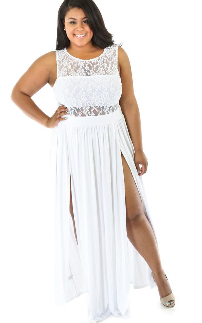 White Lace Party Dress Plus Size 58