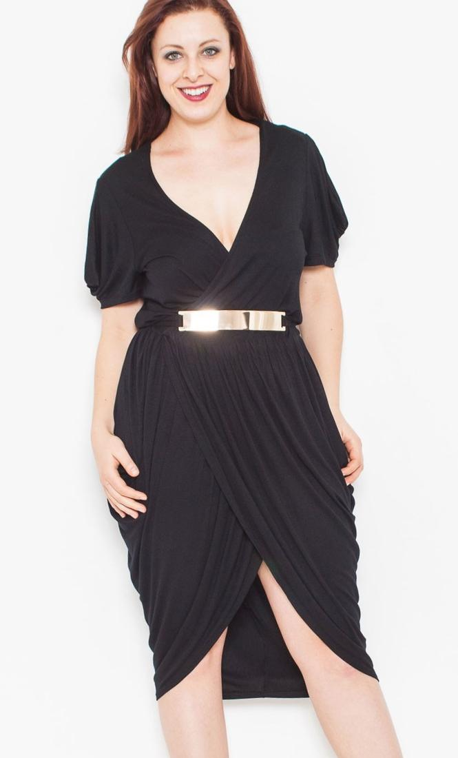 Wholesale Plus Size Black Belted Draped Tulip Dress. prev