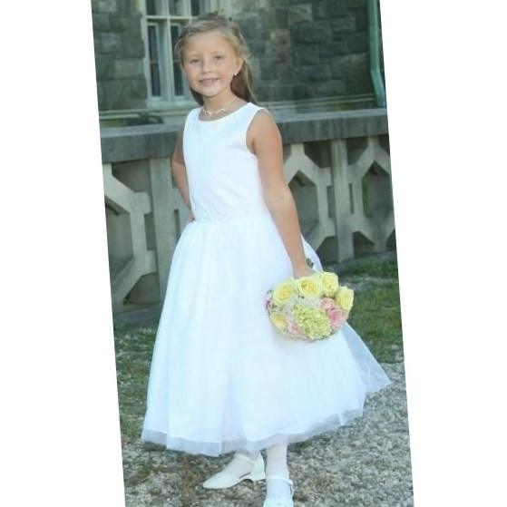 Plus Size First Communion Dress, Satin Princess Style with Tulle Skirt