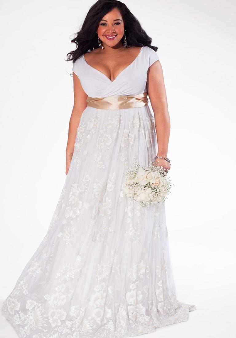 White plus size wedding dress collection for Plus size wedding dresses with color and sleeves