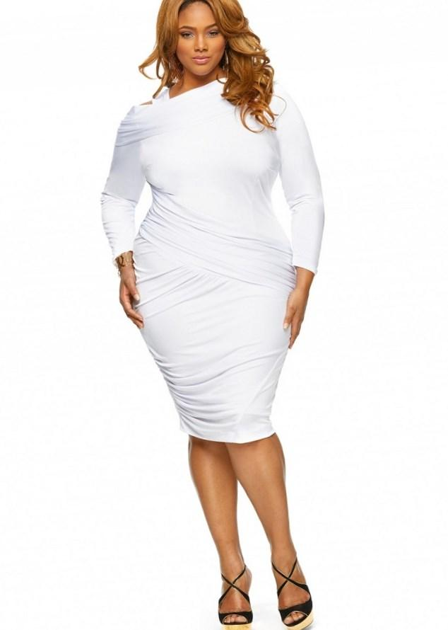 White Dress For Plus Size Women Trendy Fashion Of White Color
