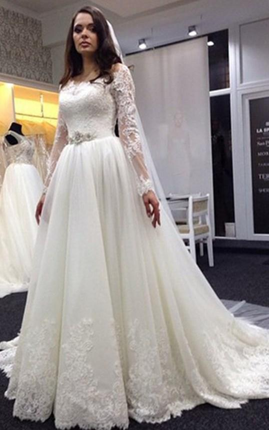 Lace Vestidos De Noiva Plus Size Wedding Dresses Long Sleeve Scoop Neck Bridal Gown with White