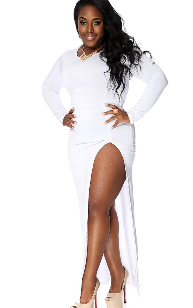 White Slit Long Sleeves Dressy Plus Size Maxi Dress