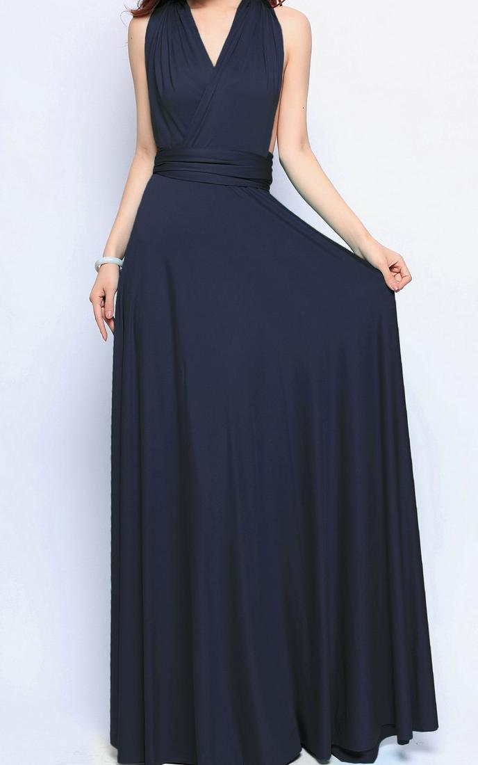 Woman Linen Maxi Dress Full Sleeve O Neck Plus Size Long Dress RED/NAVY 2017