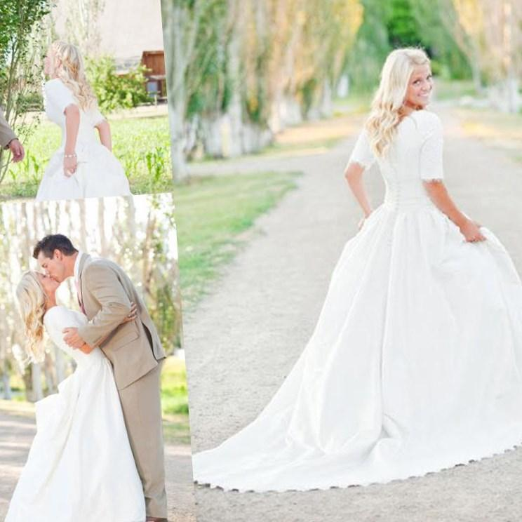 Cheap Spring Short Beach Lace Wedding Dresses Plus Size With Short Sleeves A Line Modest Ankle Length Sexy Formal Bridal Ball Gowns Online with