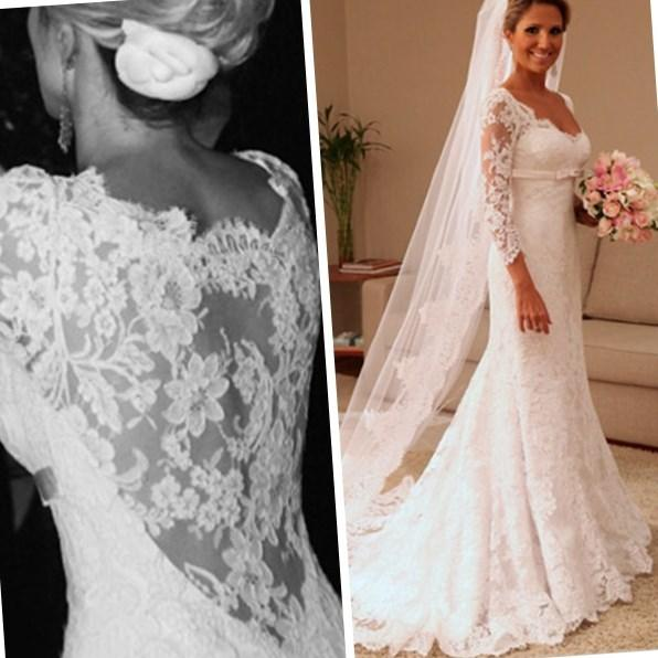 Plus Size Bridal Dress Arabic India Dress Sexy Vintage 2017 Bateau Lace Wedding Dresses With 3 4 Long Sleeves Cheap Ball Gowns Tulle Formal Online with