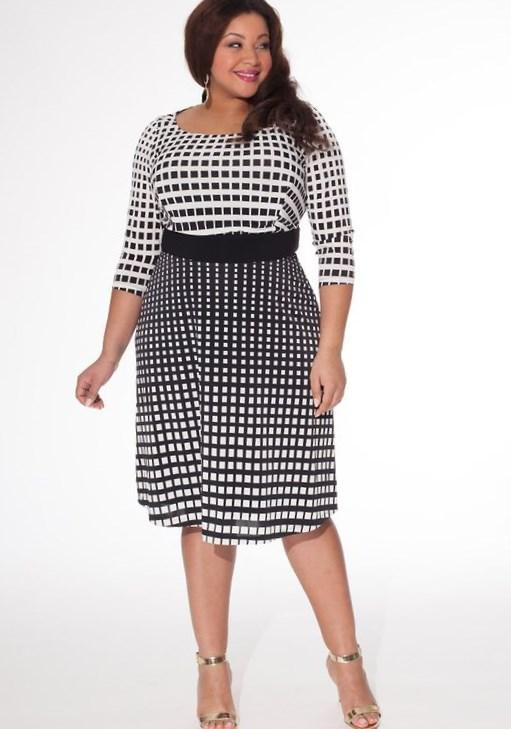 Plus Size Wedding Guest Dresses for Summer - black and white knee-length polka dots