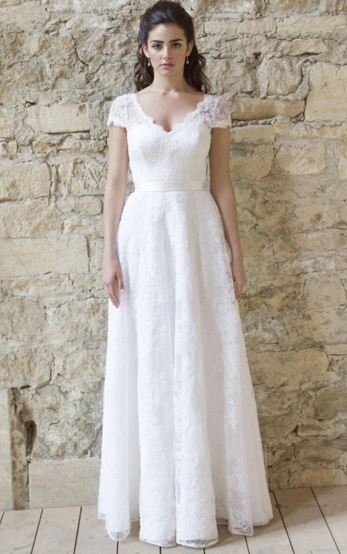 White a line dress plus size collection for Plus size tea length wedding dresses