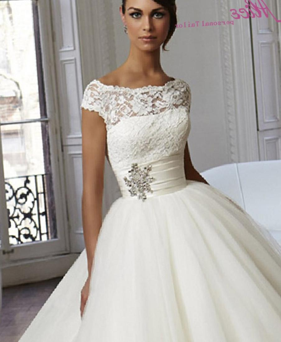 Plus Size Wedding Dress 3187 Crystal Beaded Embroidery on Asymmetrically Draped Soft Net
