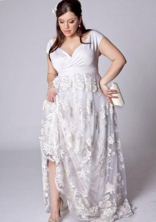 Prom Dresses With Sleeves Plus Size New Arrived White Lace Plus Size A Line V Neck