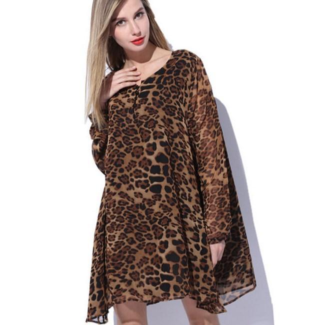 Leopard Chiffon Mini Dress