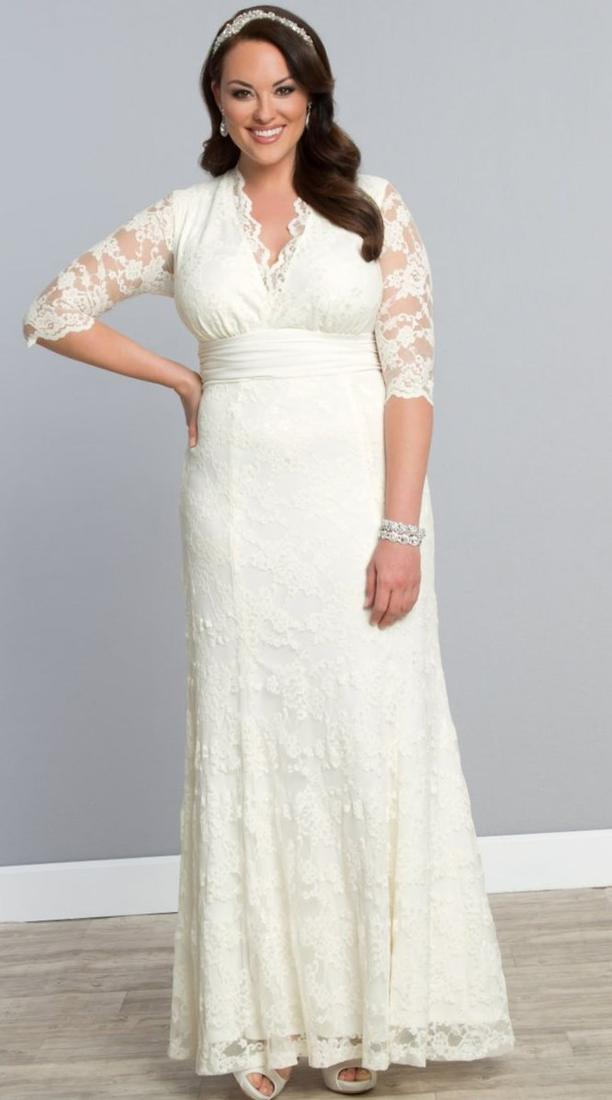 Plus Size Wedding Dresses with Sleeves 2018 Summer Beach Modest V Neck A Line Floor Length Ivory Lace Beach Bridal Gowns with Sash