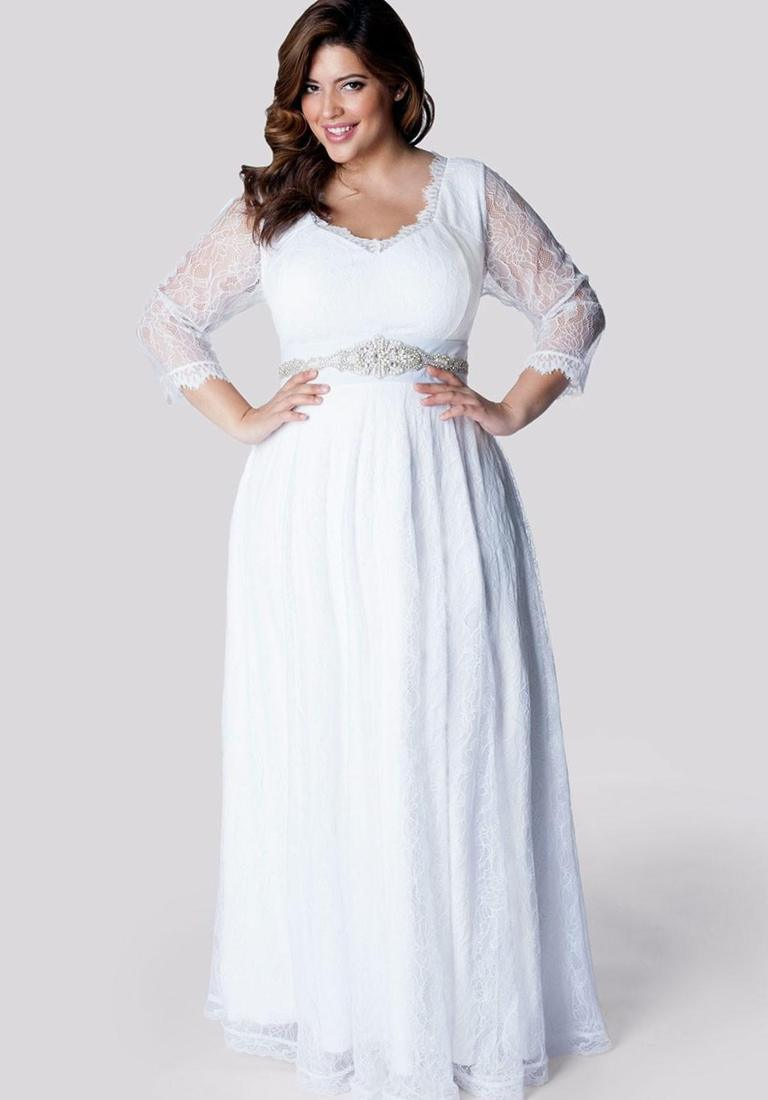 Long sleeve wedding dresses plus size collection for Long sleeve plus size wedding dress
