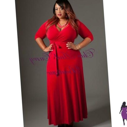 Plus size red long sleeve dresses