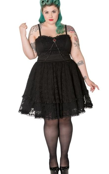 Spin Doctor Plus Size Black Gothic Lace Vampire Zylphia Mini Dress
