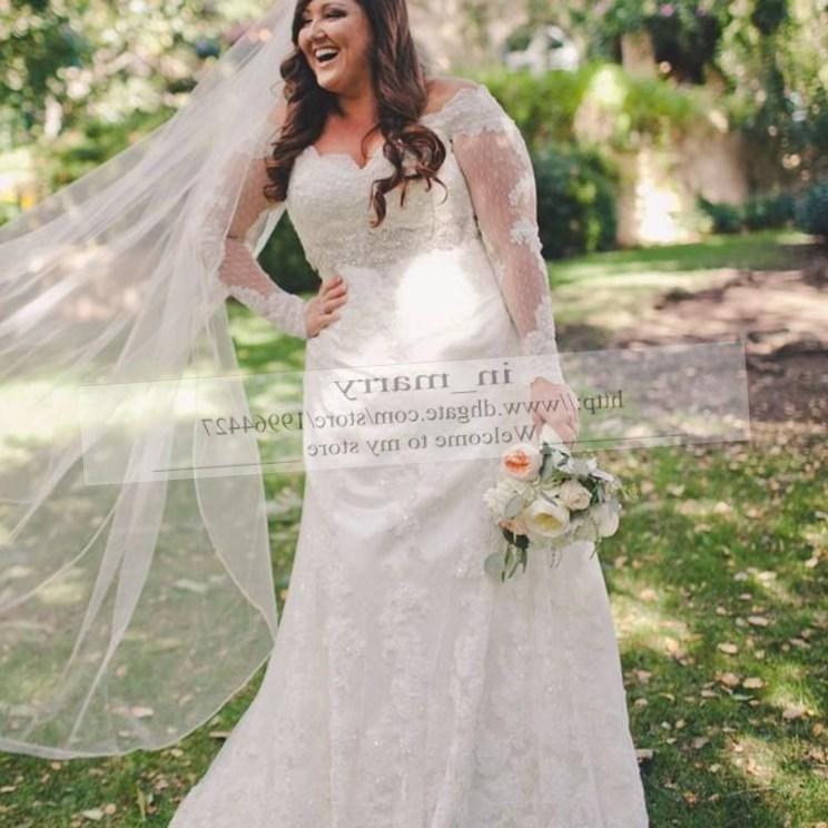 Plus Size Lace Wedding Dress Silk, Illusion neckline Wedding Dress, Sweetheart Lace Bridal Gown