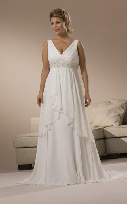 A-Line Plus Size Chiffon Chic Sweep Length V-Neck Wedding Dress With Appliques