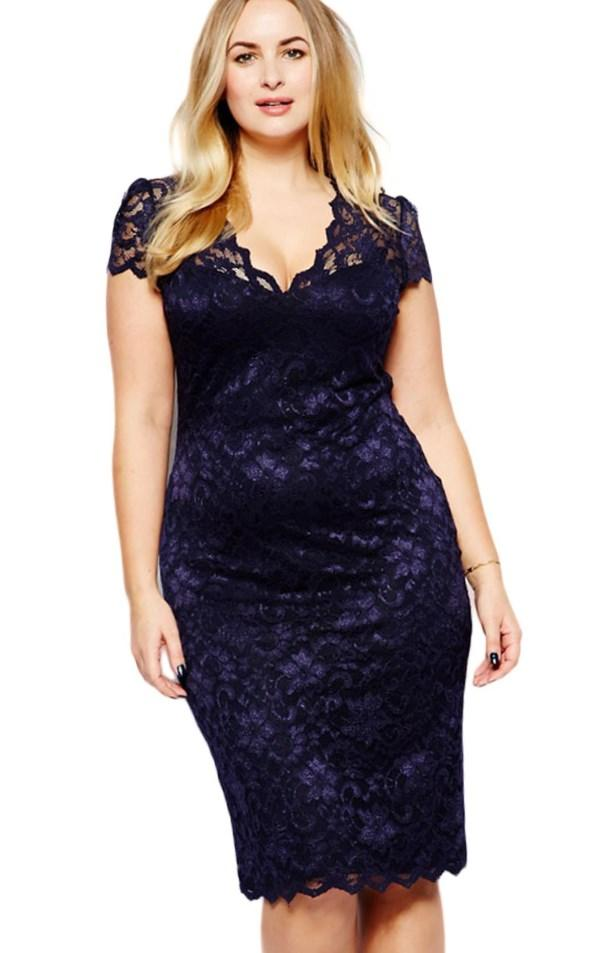Image 4 of Club L Plus Size Bodycon Dress with Scallop Lace Top