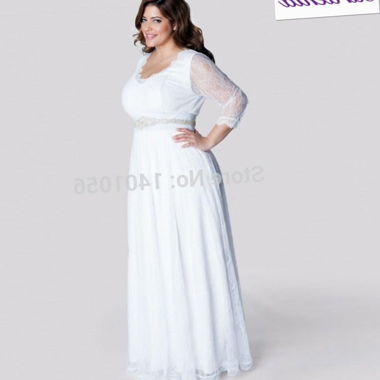 Plus size informal wedding dresses with sleeves pluslook for Long sleeve casual wedding dresses