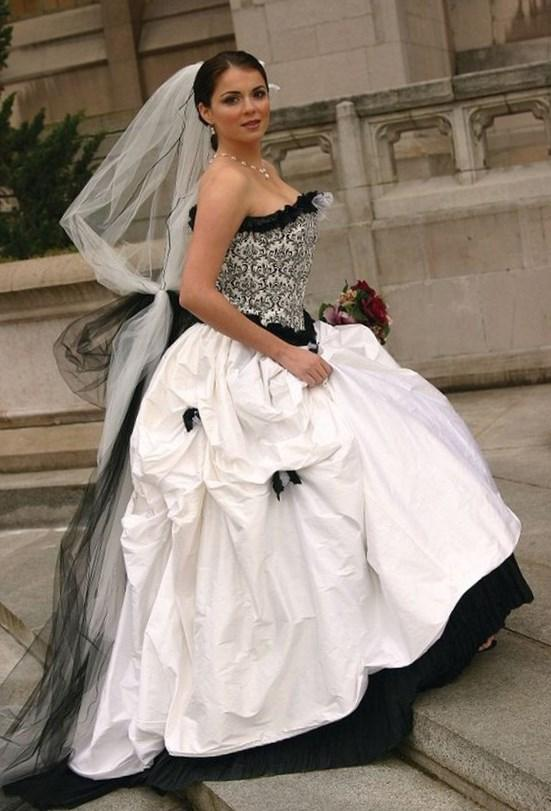 Black and White Satin Dress