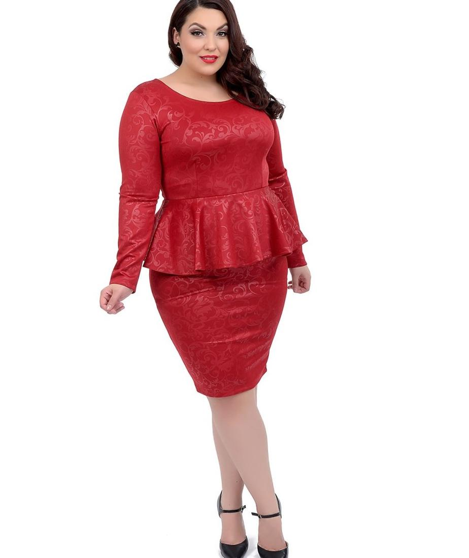 More Views. Plus Size 1950s Style Red Damask Long Sleeve Fitted Peplum Pencil Dress